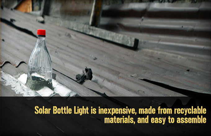 bottle in roof to be use as lighting
